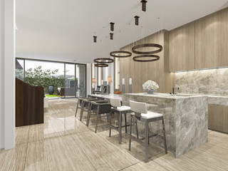 3d rendering beautiful modern kitchen with dining bar