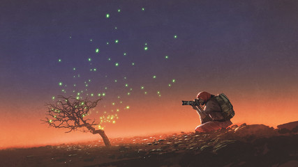 travel man taking a photo at the tree with glowing leaves floating in the sky, digital art style, illustration painting