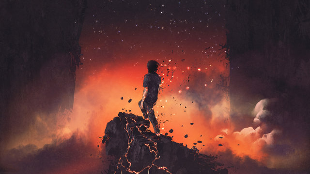 man shattered into pieces standing a lava rock in surreal place, digital art style, illustration painting