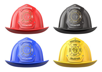 Firefighter helmets in front view isolated on white background