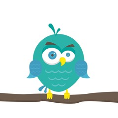 Vector illustration of colorful cartoon funny owl on white background. bird in flat style.