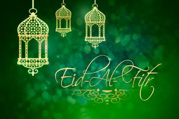 Eid-Al-Fitr background with golden lanterns on green