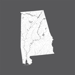 U.S. states - map of Alabama. Please look at my other images of cartographic series - they are all very detailed and carefully drawn by hand WITH RIVERS AND LAKES.