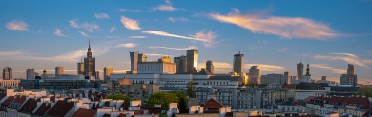panoramic view of modern sentrum Warsaw during sunset