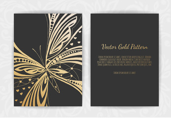 Gold greeting card on a black background. Luxury ornament template. Stylized butterfly.