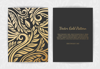 Gold vintage greeting card on a black background. Luxury ornament template.