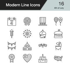 4th of July, independence day icons. Modern line design set 16. For presentation, graphic design, mobile application, web design, infographics.