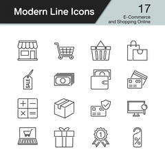 E-commerce and Shopping online icons. Modern line design set 17. For presentation, graphic design, mobile application, web design, infographics.