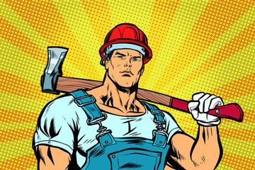 Woodcutter. Working with the axe