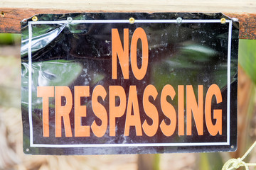 Caution sign no trespassing, boardwalk closed