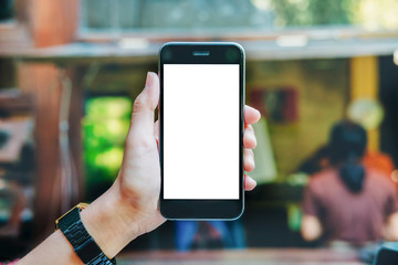man hand holding empty screen of smartphone. mobile with blank screen and can be add your texts or others. clipping path at white screen.