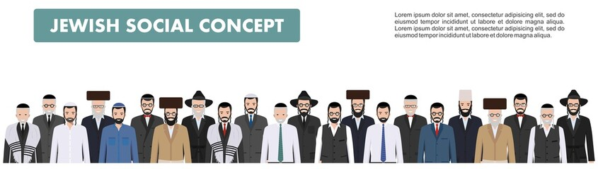 Family and social concept. Group adults and old jewish men standing together in different traditional clothes in flat style. Old israel people. Differences Israelis in the national dress. Vector.
