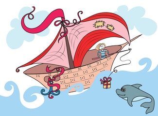 Fabulous boat sailing on the ocean, the sailor on Board threw a Dolphin gift on the rod