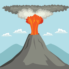 Erupting volcano spewing out lava and ash cloud