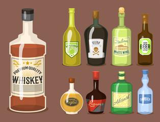 Alcohol strong drinks in bottles cartoon glasses whiskey cognac brandy wine vector illustration