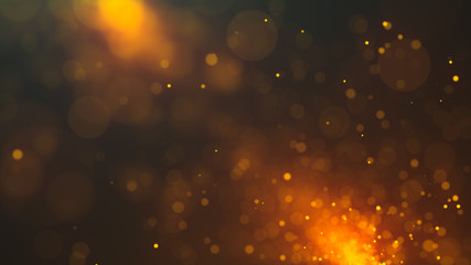 Abstract bokeh background with lots of blurred dust glowing particles. Glitter lights. 3d rendering