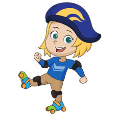 Kid playing roller skates.vector and illustration.