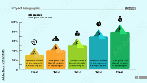 five phase process chart template design element of chart graph