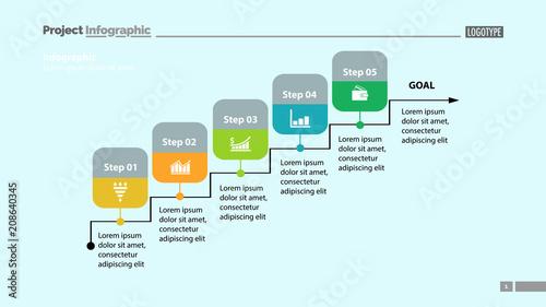 five steps process chart template design element of chart diagram
