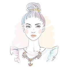 Beautiful blue hair young woman in evening dress. Hand drawn stylish woman portrait. Fashion lady. Sketch.