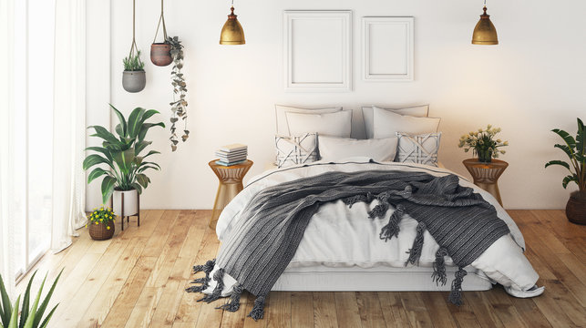 Modern bedroom, render 3d