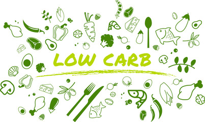 Low carb diet concept: healthy and well-balanced food items - vector illustration