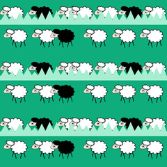 Funny seamless pattern with sheeps on grass