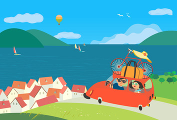 Travelling by car icon. Young happy travellers couple take a trip to sea beach journey. Summer vacation touring for beach fun and sport activity. Cute cartoon. Colorful humor vector illustration