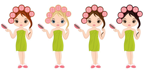 Vector Beautiful Young Girls Taking Spa Treatment