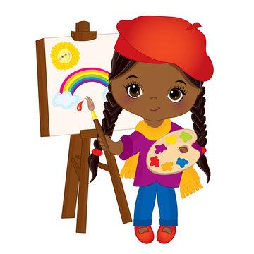 Vector cute Little African American Artist Panting on Easel. Vector Little Girl
