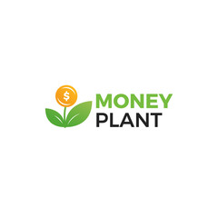 Money plant logo. Growth of investments and investments. Trust Fund logotype