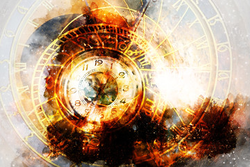 astrological symbol Zodiac and vintage pocket watch in cosmic space.