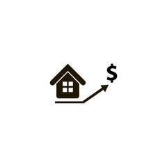 real estate prices growth icon. flat design