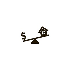 Dollar and house scales icon. flat design