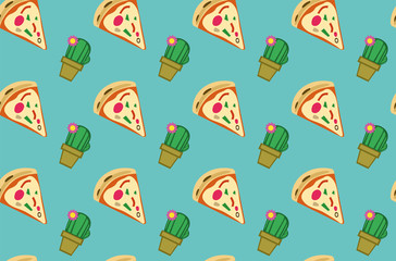 Decoration seamless pattern with pizza and cactus. Turquoise background. Vector illustration