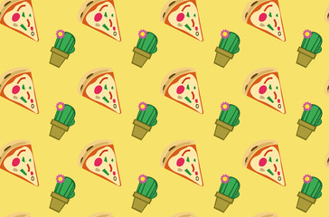 Decoration seamless pattern with pizza and cactus. Yellow background. Vector illustration