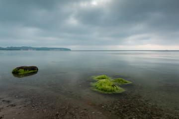 Sonnenuntergang an der Ostsee auf der Insel Rügen. Sonnenuntergang mit grünen Algen, Seegras.