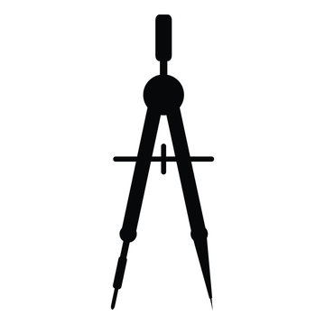A black and white silhouette of drawing compass