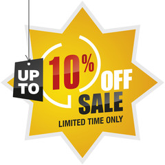 10 percent off summer sale yellow red black label icon