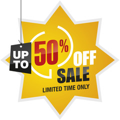 50 percent off summer sale yellow red black label icon