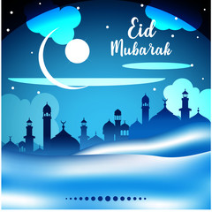 Abstract Background for islamic greeting Eid Mubarak - Translation : Blessed festival. ready to print at sticker, banner, poster, etc. easy to modify