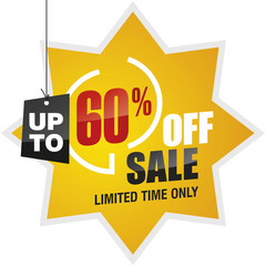 60 percent off summer sale yellow red black label icon