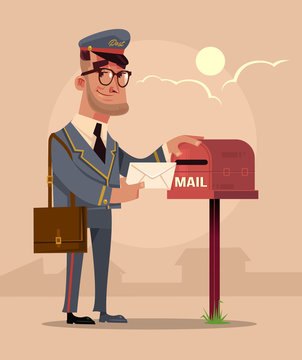 Happy smiling postman character put envelope letter in house mail box. Delivery service concept flat cartoon design graphic isolated illustration