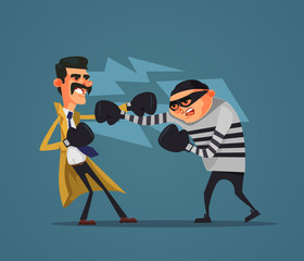 Brave detective policeman character fight criminal prisoner gangster burglar man. Low justice police flat cartoon design graphic isolated illustration