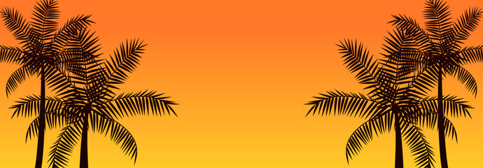Silhouette coconut palm trees, summer tropical banner background