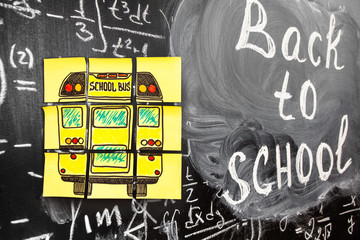 Collage of Back to school background with title Back to school and school bus written on the yellow pieces of paper on the chalkboard with math formulas written by chalk on the blackboard
