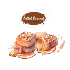 Hand drawn watercolor salted caramel illustration. Painted isolated delicious food white background