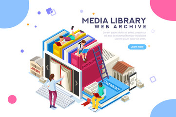 Dictionary, library of encyclopedia or web archive. Technology and literature, digital culture on media library. Clipart sticker icon for web banner. Flat isometric people images, vector illustration.