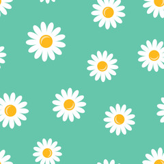 Chamomile flower icon seamless pattern background. Business concept vector illustration. Daisy camomile symbol pattern.