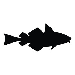 A black and white silhouette of a fish